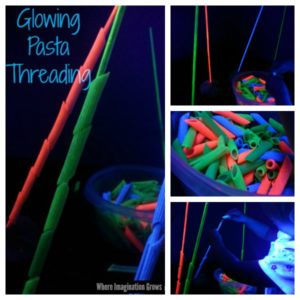 Glow in the Dark Fine Motor Pasta Threading Activity