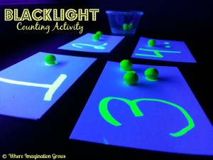 Blacklight glowing counting number