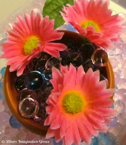 spring water bead flower sensory