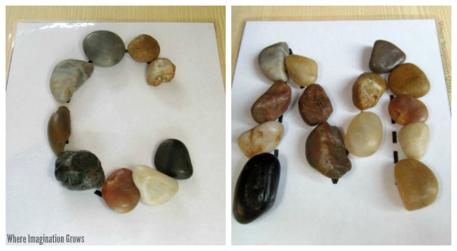 Simple preschool letter recognition practice using rocks! A fun learning activity using loose parts and a free printable