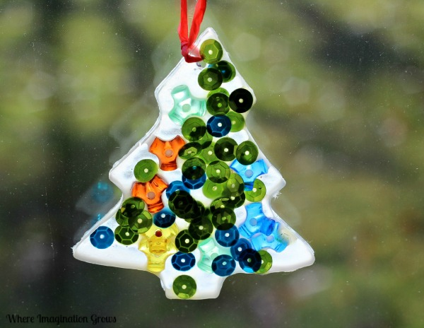 simple christmas tree suncatchers window decorations - Christmas Tree Decorations For Kids
