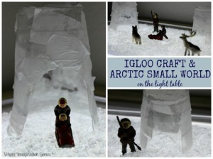 Igloo Craft & Arctic Small World on the Light Table