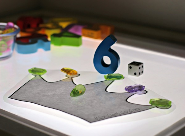 Crown Counting Math Game for Preschoolers on the Light Table!