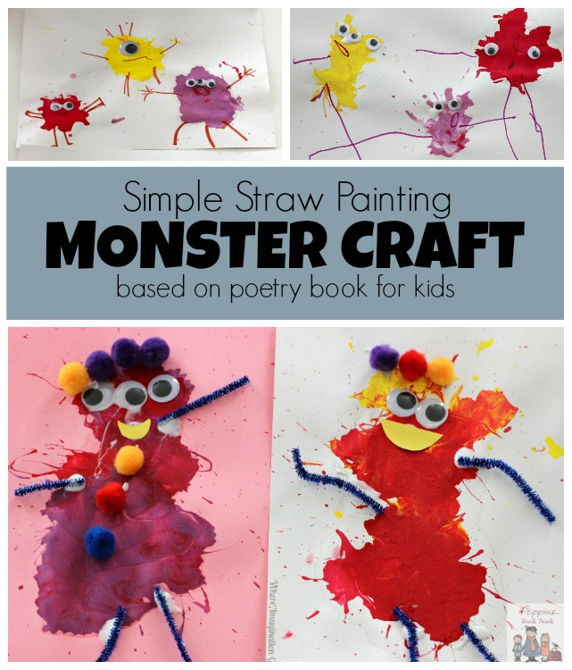 Straw Painting Monster Craft for Preschoolers