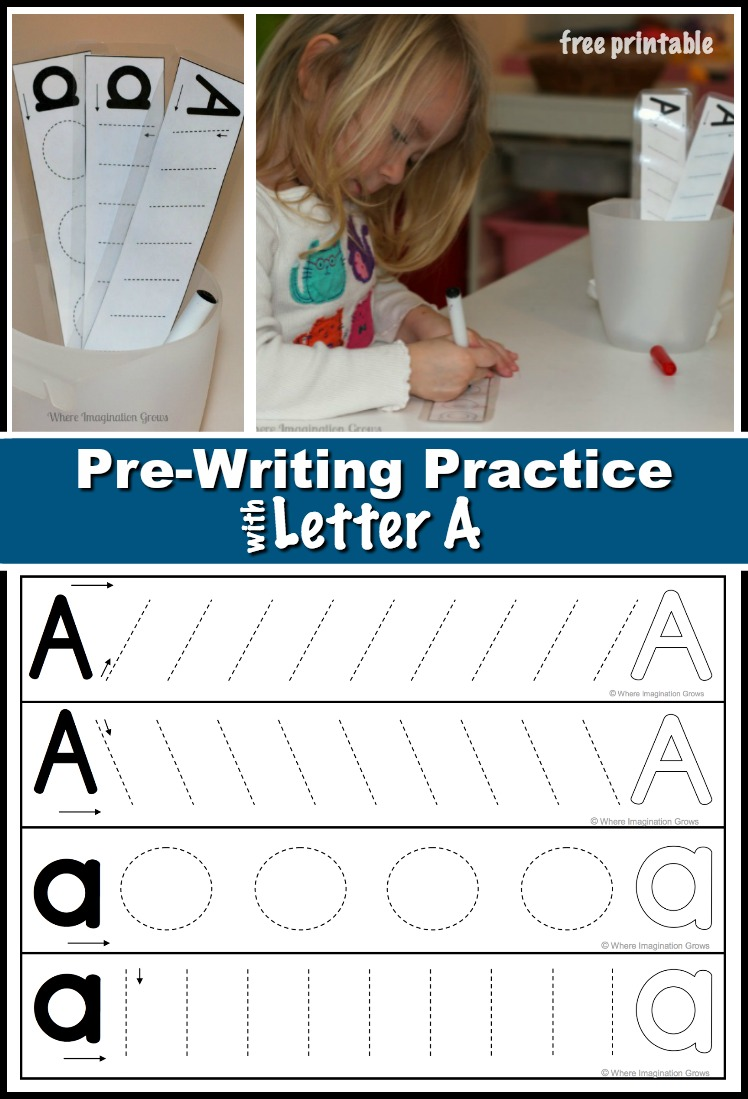 Prewriting Practice with Letter A - Where Imagination Grows