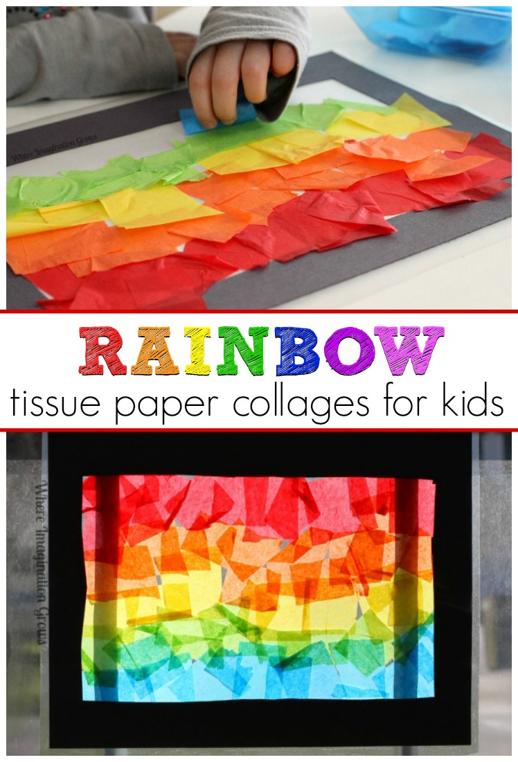 Spring Rainbow Craft for Kids! Simple tissue paper stained glass rainbow sun catchers toddlers and preschoolers can make!
