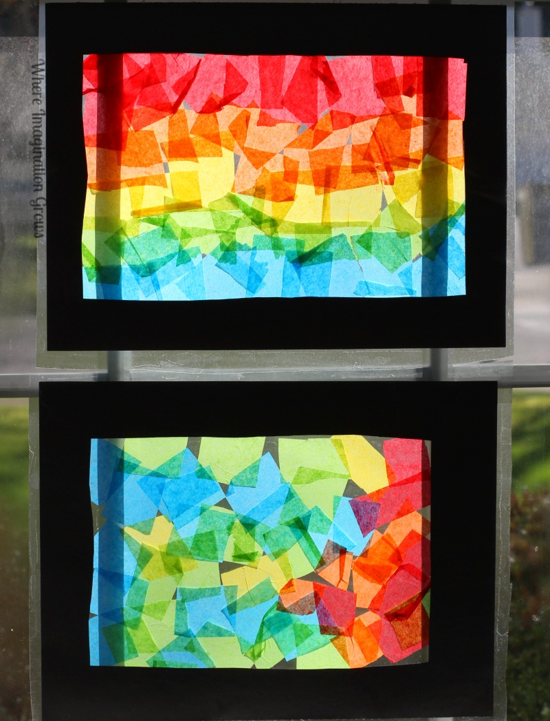 Colorful Rainbow Craft for Kids! Make stained glass looking suncatchers and collages from tissue paper!