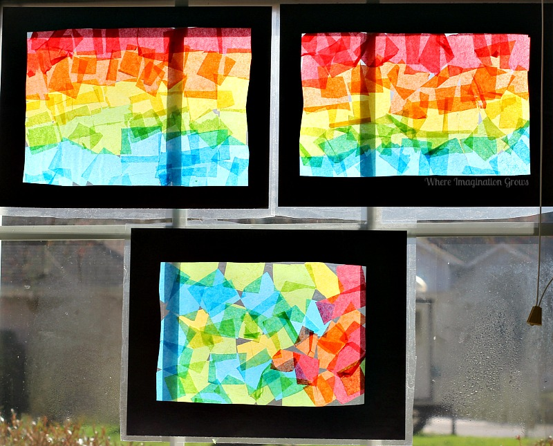 Spring Crafts for Kids- Rainbow Art Stained Glass Collages