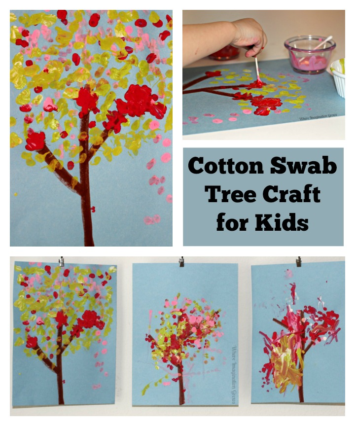 Simple Art Projects for Kids: Cotton Swab Tree Craft!