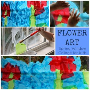Spring Tissue Paper Flower Window Collages