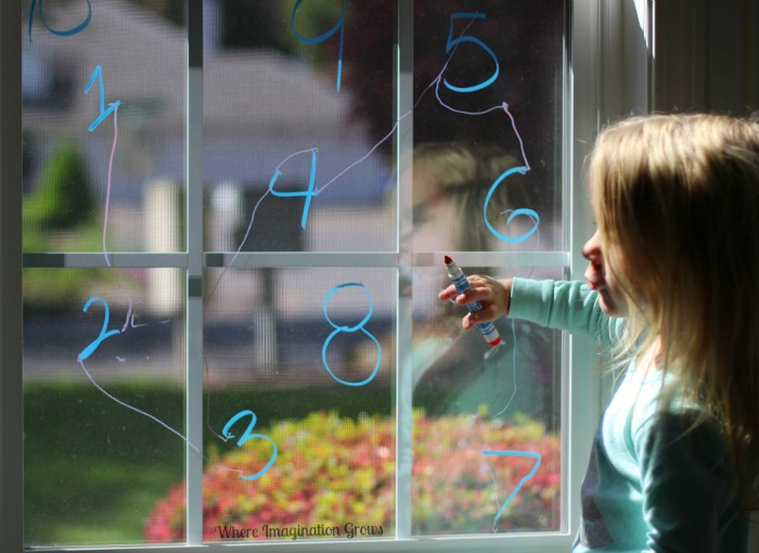 Number Order Math Game for Preschoolers on a Window