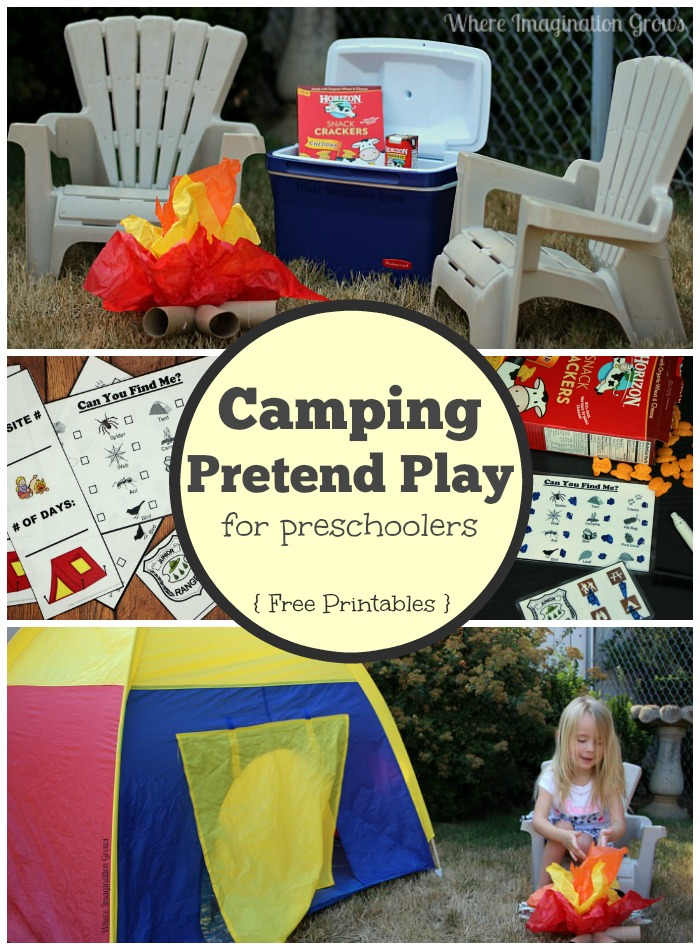 Camping Pretend Play Adventure for Preschoolers! Free Printables!