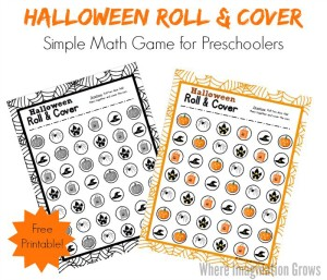 Preschool Roll & Cover Halloween Math Game