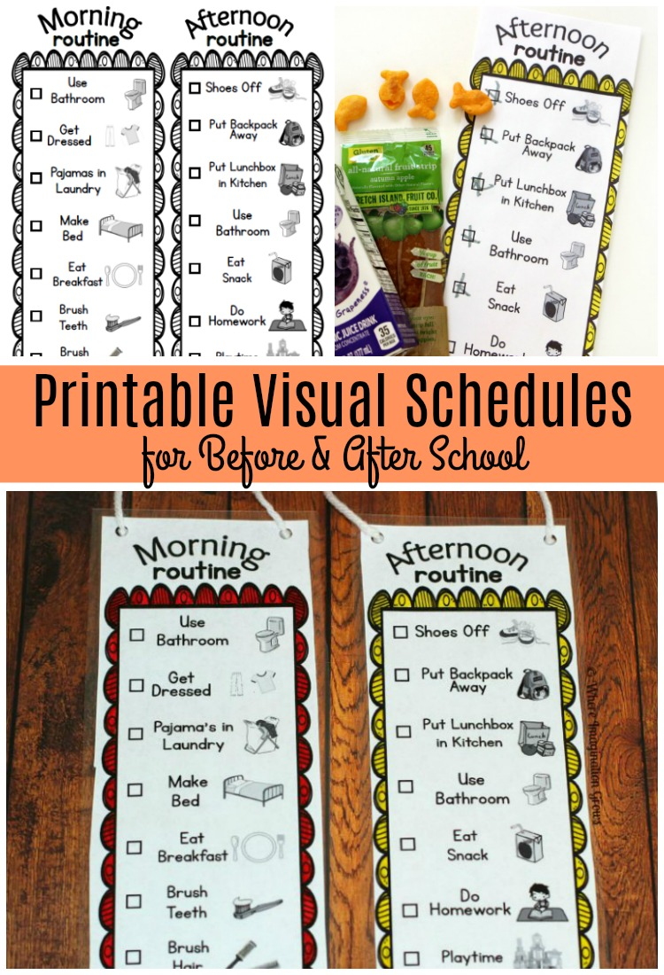 graphic relating to Printable Visual Schedule Pictures named Prior to and Just after Faculty Visible Exercise routines for Children - Wherever