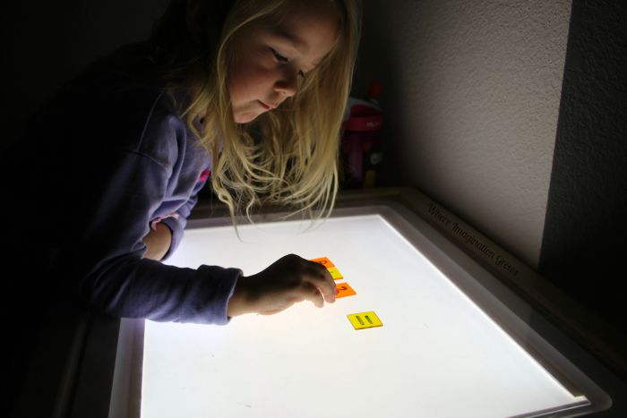 Counting & Adding Acrylic Fall Acorns on the Light Table! Simple Preschool Math & Fun Light Play
