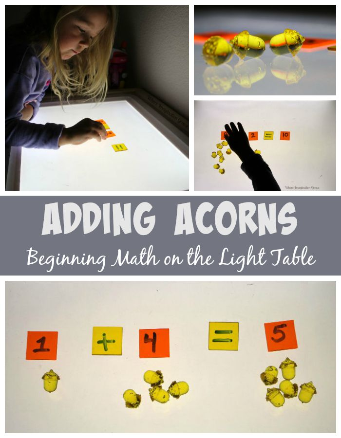 Counting & adding acorns on the light table! A beginning math game for preschoolers with a fun fall theme! It's fun off the light table too!