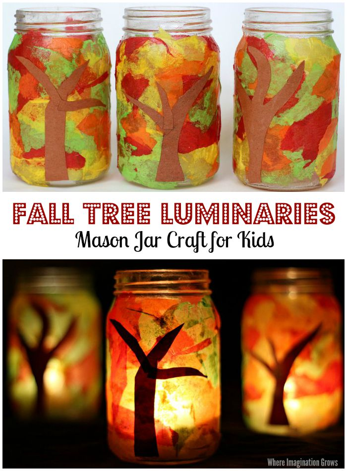 Fall Tree Luminaries Mason Jar Craft for Kids