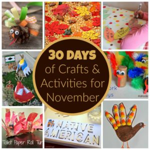 30 Days of Kids Activities for November! Free Activity Calendar