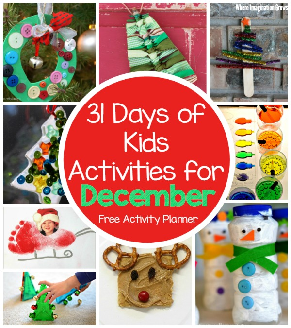 31 days of fun kids activities for december christmas winter themed crafts activities