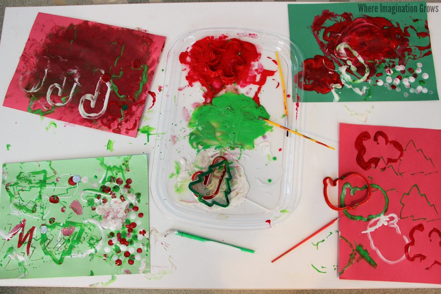 Christmas Process Art Craft for Kids! Christmas cards that kids can make!