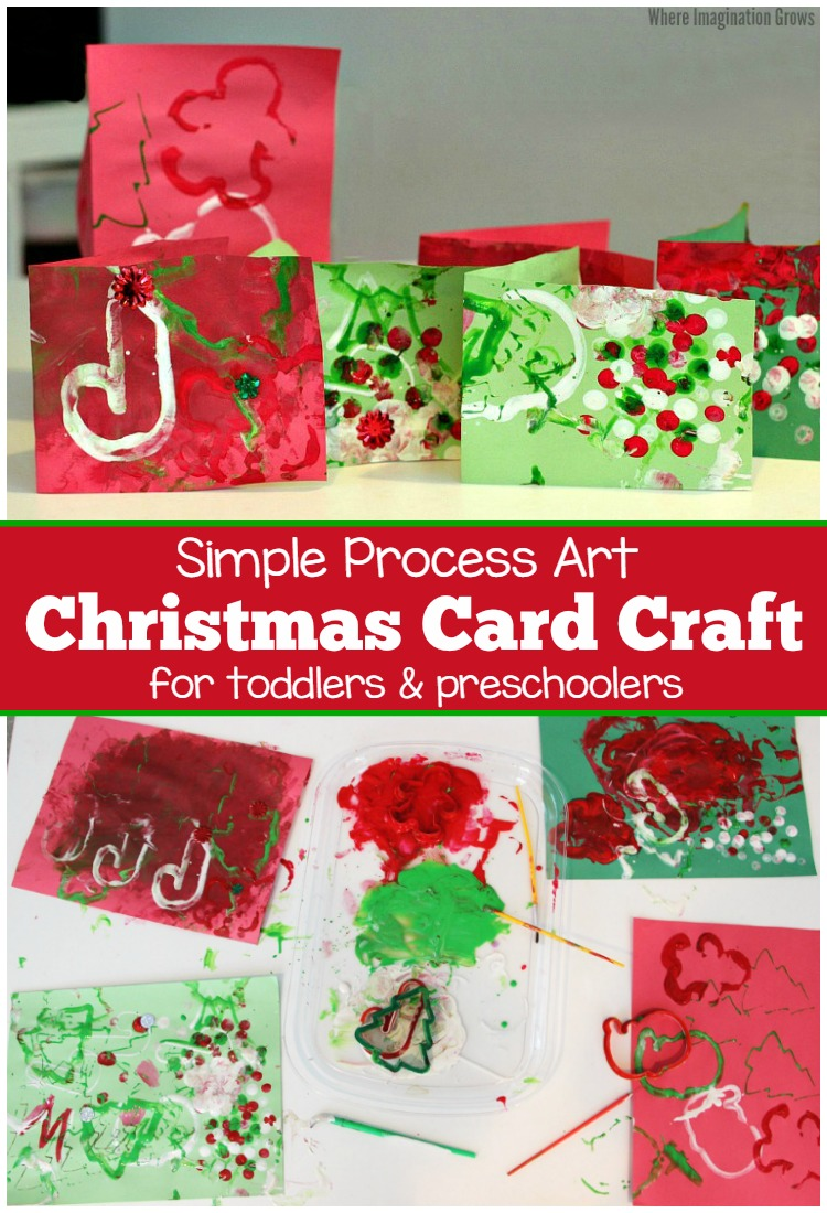 Christmas Process Art Craft for Kids! Christmas cards that kids can make! Plus tips for cleaning messy art!