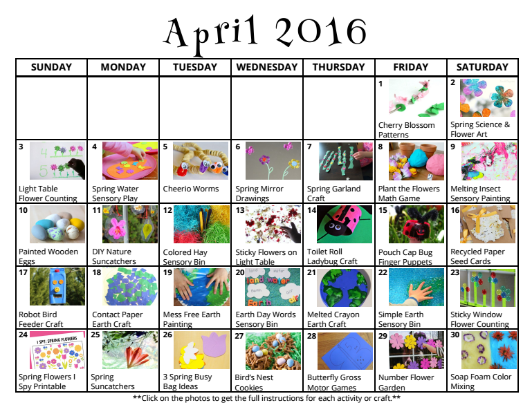 April Calendar S Kindergarten : Spring preschool crafts activities for april where