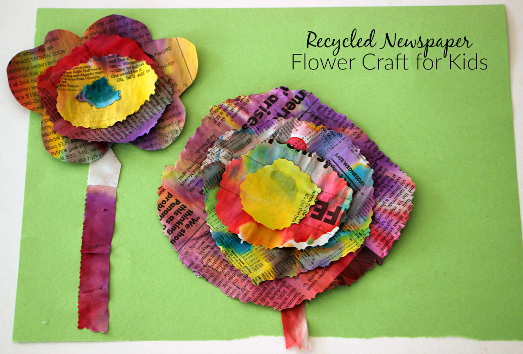 Watercolor Amp Recycled Newspaper Flower Craft Where