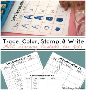 Trace, Color, Stamp & Write – ABC Printable for Kids