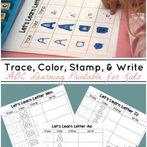 Trace, Stamp, Color, & Write Learning Printable for Kids