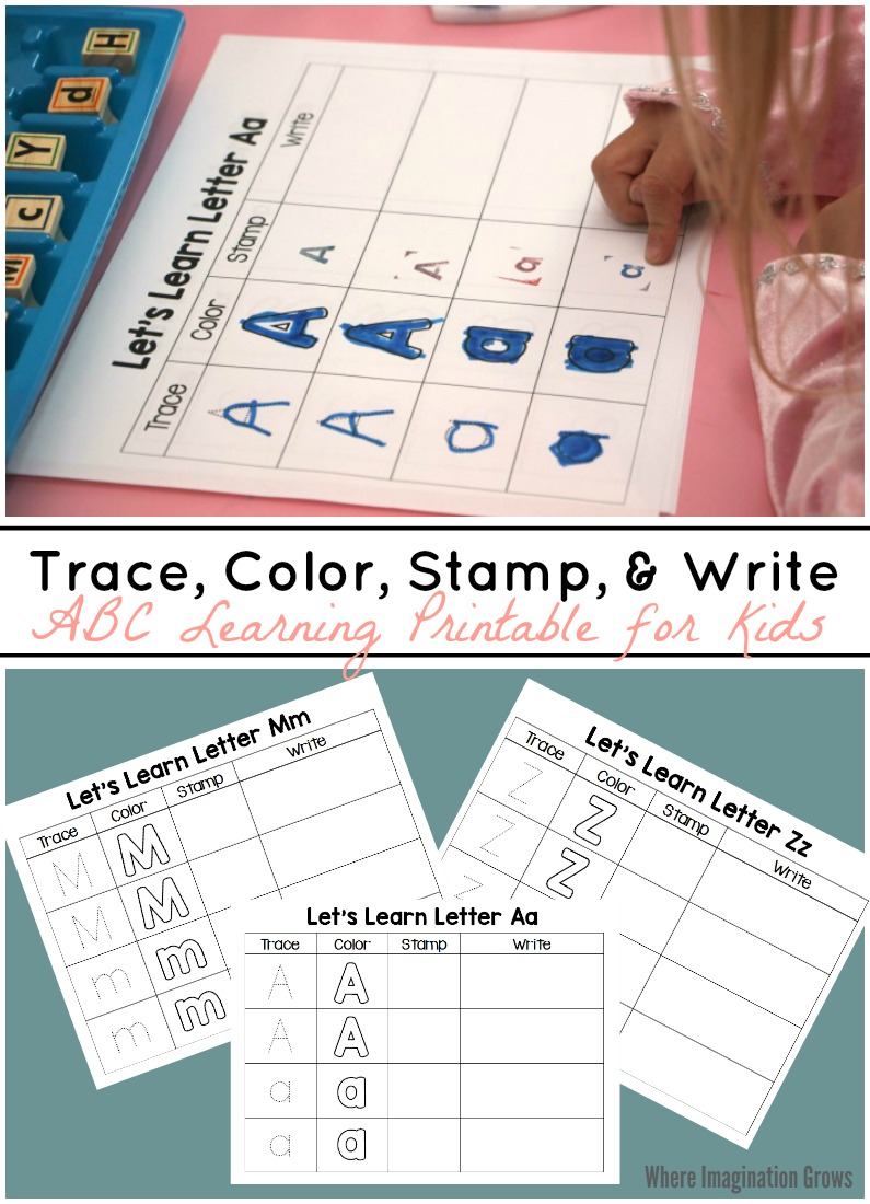 Trace Color Stamp  Write  Abc Printable For Kids  Where
