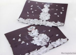Ripped Tissue Paper Snowman Craft